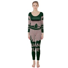 I Juan To Believe Ugly Holiday Christmas Green background Long Sleeve Catsuit