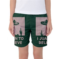 I Juan To Believe Ugly Holiday Christmas Green background Women s Basketball Shorts