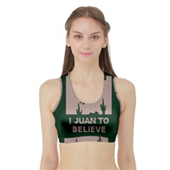 I Juan To Believe Ugly Holiday Christmas Green background Sports Bra with Border