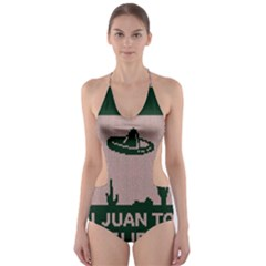 I Juan To Believe Ugly Holiday Christmas Green background Cut-Out One Piece Swimsuit