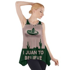 I Juan To Believe Ugly Holiday Christmas Green background Side Drop Tank Tunic