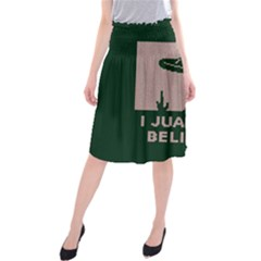 I Juan To Believe Ugly Holiday Christmas Green background Midi Beach Skirt