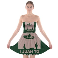 I Juan To Believe Ugly Holiday Christmas Green background Strapless Bra Top Dress
