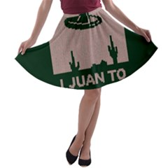 I Juan To Believe Ugly Holiday Christmas Green background A-line Skater Skirt