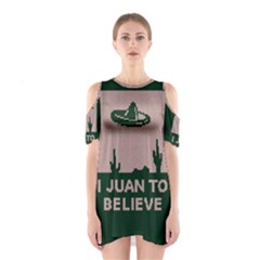 I Juan To Believe Ugly Holiday Christmas Green background Cutout Shoulder Dress