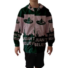 I Juan To Believe Ugly Holiday Christmas Green background Hooded Wind Breaker (Kids)