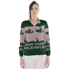 I Juan To Believe Ugly Holiday Christmas Green background Wind Breaker (Women)