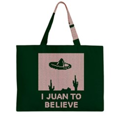 I Juan To Believe Ugly Holiday Christmas Green background Large Tote Bag