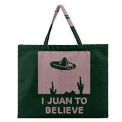 I Juan To Believe Ugly Holiday Christmas Green background Zipper Large Tote Bag
