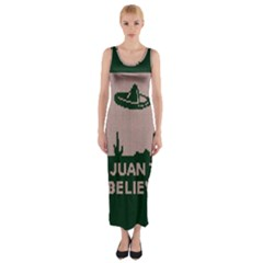 I Juan To Believe Ugly Holiday Christmas Green background Fitted Maxi Dress