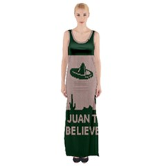 I Juan To Believe Ugly Holiday Christmas Green background Maxi Thigh Split Dress