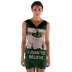 I Juan To Believe Ugly Holiday Christmas Green background Wrap Front Bodycon Dress