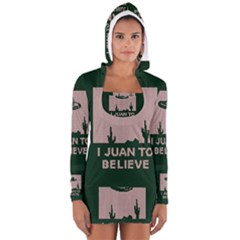 I Juan To Believe Ugly Holiday Christmas Green background Women s Long Sleeve Hooded T-shirt