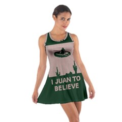 I Juan To Believe Ugly Holiday Christmas Green background Cotton Racerback Dress