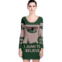 I Juan To Believe Ugly Holiday Christmas Green Background Long Sleeve Velvet Bodycon Dress
