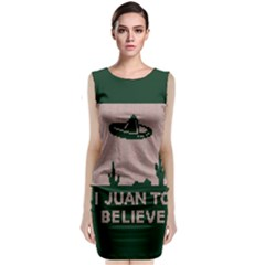 I Juan To Believe Ugly Holiday Christmas Green Background Classic Sleeveless Midi Dress