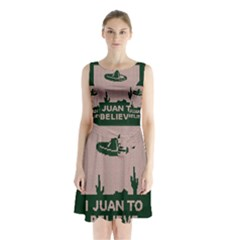 I Juan To Believe Ugly Holiday Christmas Green Background Sleeveless Chiffon Waist Tie Dress