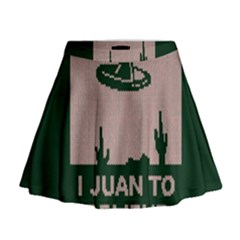 I Juan To Believe Ugly Holiday Christmas Green background Mini Flare Skirt