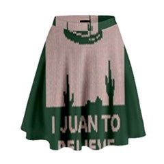 I Juan To Believe Ugly Holiday Christmas Green Background High Waist Skirt
