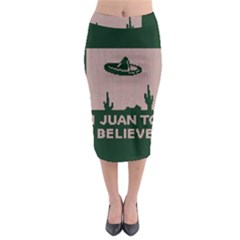 I Juan To Believe Ugly Holiday Christmas Green Background Midi Pencil Skirt