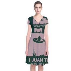 I Juan To Believe Ugly Holiday Christmas Green background Short Sleeve Front Wrap Dress