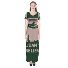 I Juan To Believe Ugly Holiday Christmas Green background Short Sleeve Maxi Dress