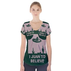 I Juan To Believe Ugly Holiday Christmas Green Background Short Sleeve Front Detail Top