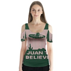 I Juan To Believe Ugly Holiday Christmas Green Background Butterfly Sleeve Cutout Tee