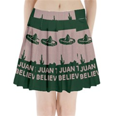 I Juan To Believe Ugly Holiday Christmas Green background Pleated Mini Skirt