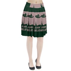 I Juan To Believe Ugly Holiday Christmas Green Background Pleated Skirt