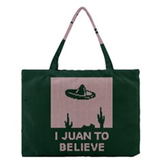 I Juan To Believe Ugly Holiday Christmas Green Background Medium Tote Bag