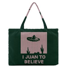 I Juan To Believe Ugly Holiday Christmas Green Background Medium Zipper Tote Bag
