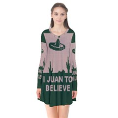 I Juan To Believe Ugly Holiday Christmas Green background Flare Dress