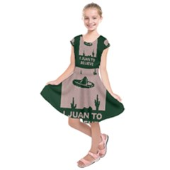 I Juan To Believe Ugly Holiday Christmas Green Background Kids  Short Sleeve Dress