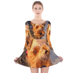 Welch Terrier Long Sleeve Velvet Skater Dress