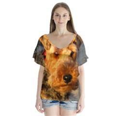 Welch Terrier Flutter Sleeve Top