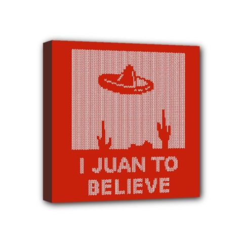 I Juan To Believe Ugly Holiday Christmas Red Background Mini Canvas 4  x 4