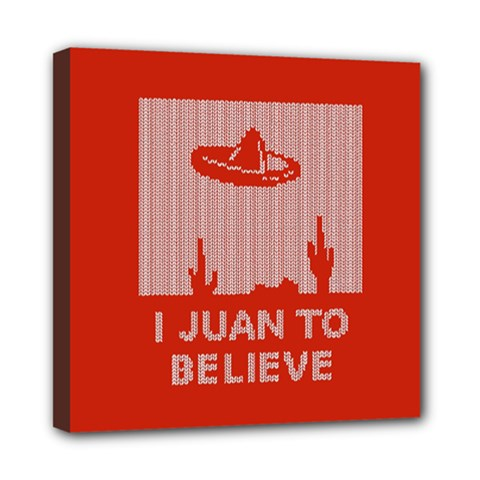 I Juan To Believe Ugly Holiday Christmas Red Background Mini Canvas 8  x 8