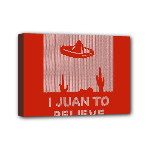 I Juan To Believe Ugly Holiday Christmas Red Background Mini Canvas 7  x 5