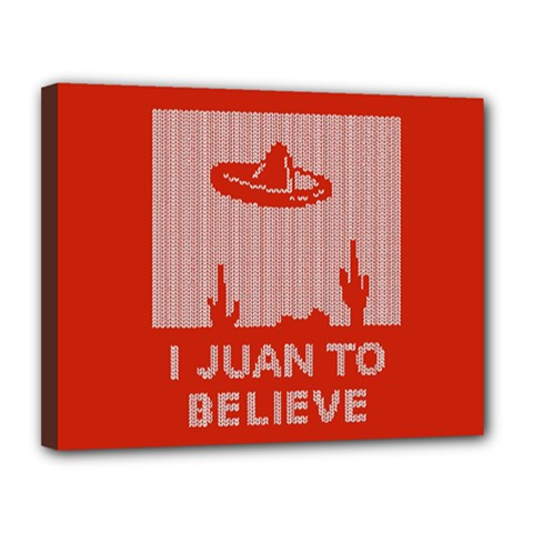 I Juan To Believe Ugly Holiday Christmas Red Background Canvas 14  x 11