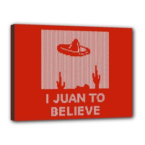 I Juan To Believe Ugly Holiday Christmas Red Background Canvas 16  x 12