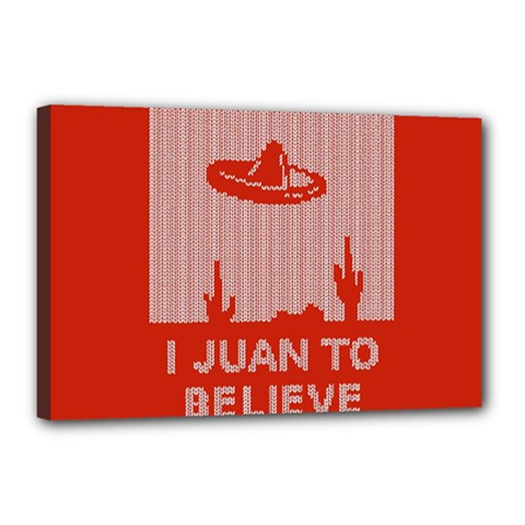 I Juan To Believe Ugly Holiday Christmas Red Background Canvas 18  x 12