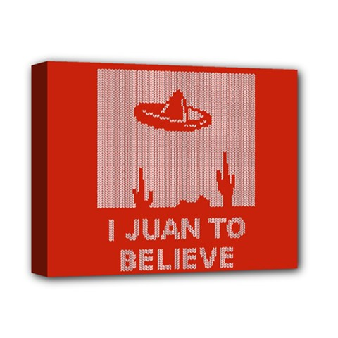 I Juan To Believe Ugly Holiday Christmas Red Background Deluxe Canvas 14  x 11