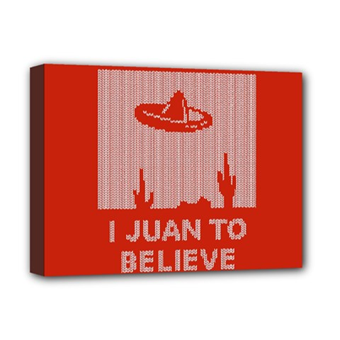 I Juan To Believe Ugly Holiday Christmas Red Background Deluxe Canvas 16  x 12