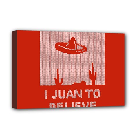 I Juan To Believe Ugly Holiday Christmas Red Background Deluxe Canvas 18  x 12