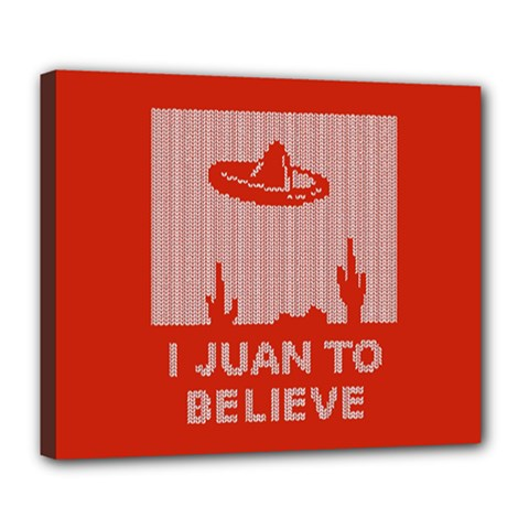 I Juan To Believe Ugly Holiday Christmas Red Background Deluxe Canvas 24  x 20
