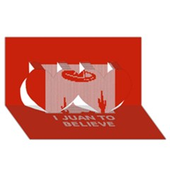 I Juan To Believe Ugly Holiday Christmas Red Background Twin Hearts 3D Greeting Card (8x4)