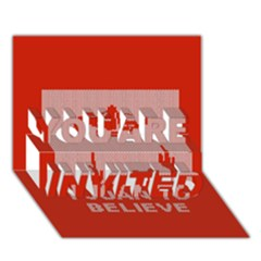 I Juan To Believe Ugly Holiday Christmas Red Background YOU ARE INVITED 3D Greeting Card (7x5)