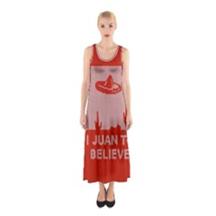 I Juan To Believe Ugly Holiday Christmas Red Background Sleeveless Maxi Dress
