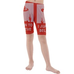 I Juan To Believe Ugly Holiday Christmas Red Background Kids  Mid Length Swim Shorts